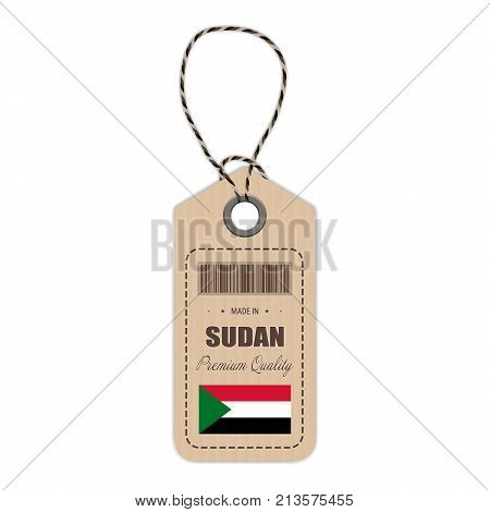 Hang Tag Made In Sudan With Flag Icon Isolated On A White Background. Vector Illustration. Made In Badge. Business Concept. Buy products made in Sudan. Use For Brochures, Printed Materials, Logos, Independence Day