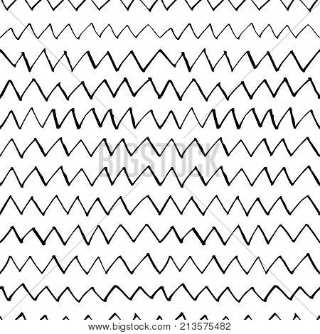 Hand drawn vector seamless pattern with zigzag stripes. Monochrome hand drawn ink texture. Black and white classic chevron pattern.