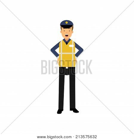 Cartoon officer of traffic police standing with arms akimbo in uniform with high visibility vest. Civil service. Professional at work. Vector flat design illustration isolated on white background.