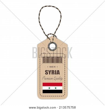 Hang Tag Made In Syria With Flag Icon Isolated On A White Background. Vector Illustration. Made In Badge. Business Concept. Buy products made in Syria. Use For Brochures, Printed Materials, Logos, Independence Day