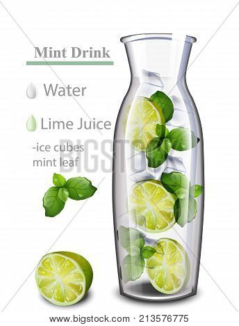 Hydrating detox water drink. Lime and mint flavor. Realistic fresh beverage mix in a glass jar