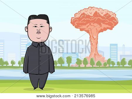 OCTOBER, 30, 2017: Nuclear bomb explosion in the big city, mushroom clouds and caricature character of the North Korean leader Kim Jong-UN, standing with flag. Vector Illustration.