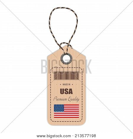 Hang Tag Made In USA With Flag Icon Isolated On A White Background. Vector Illustration. Made In Badge. Business Concept. Buy products made in United States Of America. Use For Brochures, Printed Materials, Logos, Independence Day