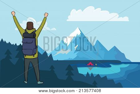 Back view of happy young hiker man with raised hands in the mountains. Fishing boat on the water, campfire next to the tourist tent on the shore. Vector illustration.