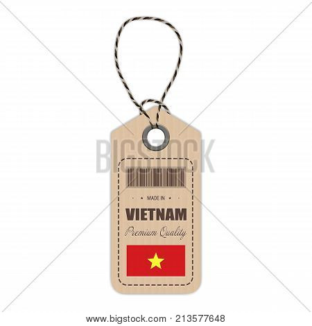 Hang Tag Made In Vietnam With Flag Icon Isolated On A White Background. Vector Illustration. Made In Badge. Business Concept. Buy products made in Vietnam. Use For Brochures, Printed Materials, Logos, Independence Day
