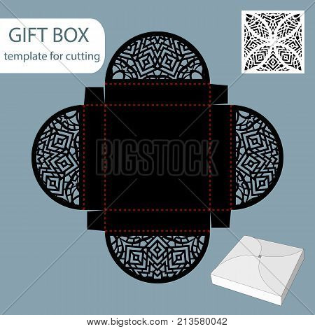 Paper gift box lace pattern square bottom cut out template packaging for retail greeting packaging can be laser cut vector illustrations.