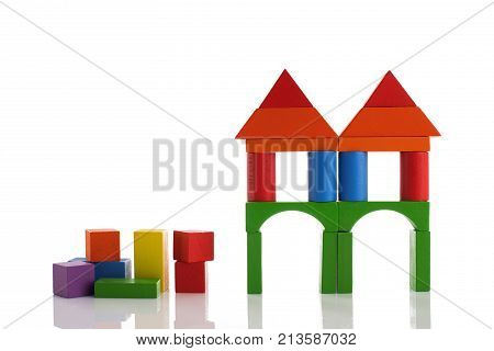 Wooden Toy Blocks Isolated On White Background, Montessori Educational Child Toys