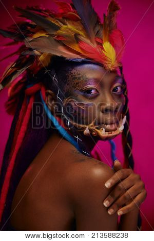 Portrait of an african shaman woman.