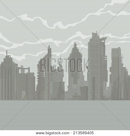 cartoon gray city of dilapidated skyscrapers in the fog