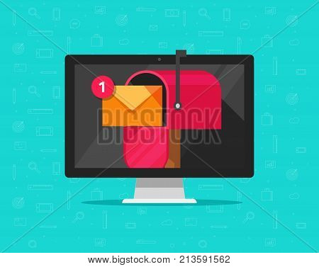 Computer with mailbox on screen vector illustration, flat cartoon design desktop pc display with mail box, concept of new e-mail received, letter or newsletter message, internet email delivery, inbox