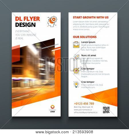 DL flyer design layout. Orange DL Corporate business template for flyer. Layout with modern elements and abstract background. Creative concept vector flyer.