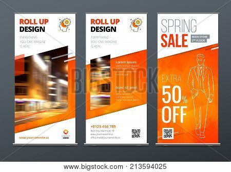 Roll Up banner stand. Presentation concept. Orange Corporate business roll up template background. Vertical template billboard, banner stand or flag design layout. Poster for conference, forum, shop