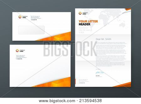 Envelope DL, C5, Letterhead. Orange Corporate business template for envelope and letter. Layout with modern triangle elements and abstract background. Creative vector concept