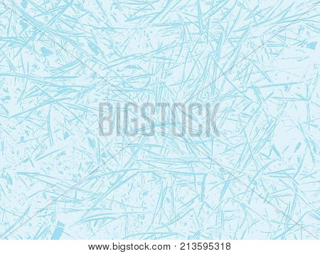 Winter frosted glass abstract background. Frozen window realistic texture. Snow backdrop. Vector illustration. Light blue color. Nature cold ice effect pattern. Design for banner, flyer, cards, print.