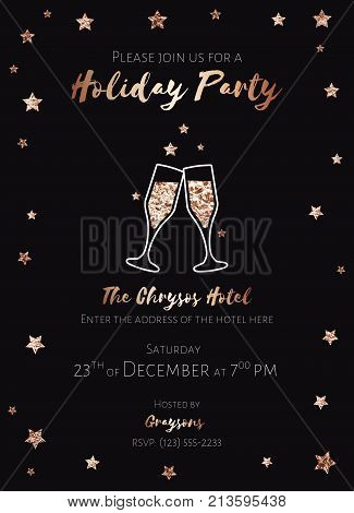 Invitation to a holiday party. Christmas design template for flyer or poster. Clinking glasses of champagne. Black and pink gold foil. Dimensions proportional 5.25x7.25 inch, 0.125 bleed size. EPS10.