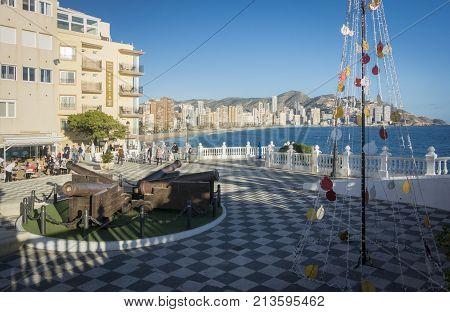 BENIDORM, SPAIN, 11TH JANUARY 2017 - Santa Ana Plaza and view of Levante beach coastline at Christmas Benidorm Alicante Spain