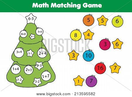 Math educational game for children. Matching mathematics activity with New year tree. Counting game for kids. Christmas holidays theme