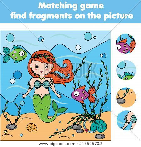 Matching children educational game. Find objects activity for pre shool years kids and toddlers