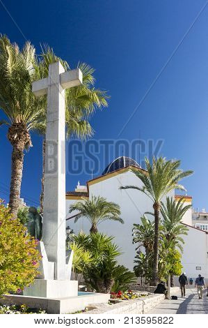 BENIDORM, SPAIN, 11TH JANUARY 2017 - Cross and church of San Jaime and Santa Ana Benidorm Alicante Spain