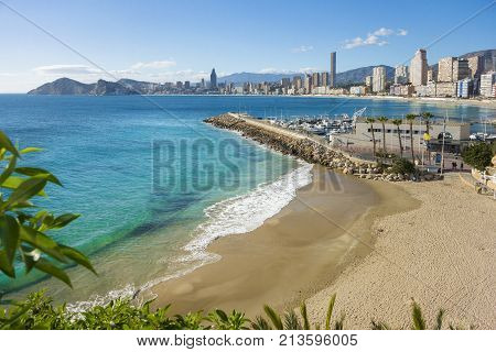 View of the coastline of Old Town and Poniente Beaches Benidorm Alicante Spain