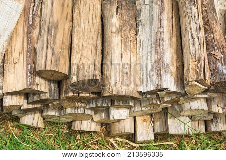 Pile wood Stack of Chopped Log Firewood lay on Grass floor Beside Rural Country Farm