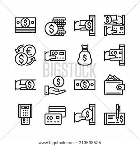 Money line icons set. 48x48 px. Modern graphic design concepts. Simple outline elements collection. Pixel perfect. Vector line icons