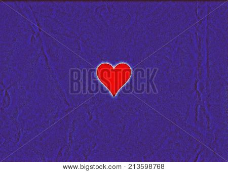 High contrast red heart on a creased purple background