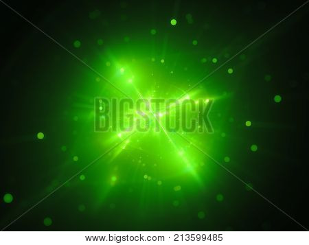 Green glowing interstellar object in space extraterrestrial life form computer generated abstract background 3D rendering