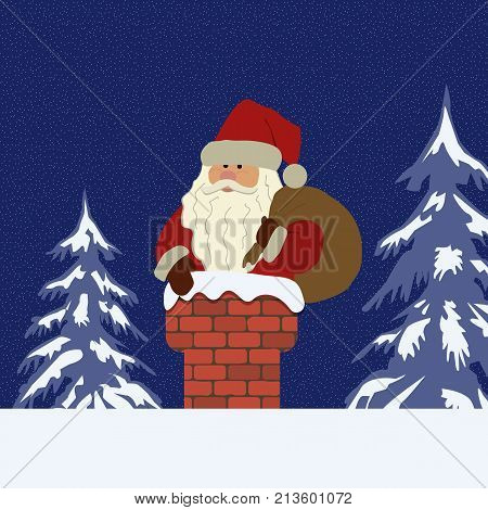 Santa Claus with a bag in the chimney on a blue background. There are also snow-covered fir trees in the picture. It can be used as a design element in Christmas composition. Vector image