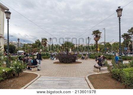 THESSALONIKI, GREECE - SEPTEMBER 30, 2017: People  walking at Aristotelous Square  in the center of city of Thessaloniki, Central Macedonia, Greece