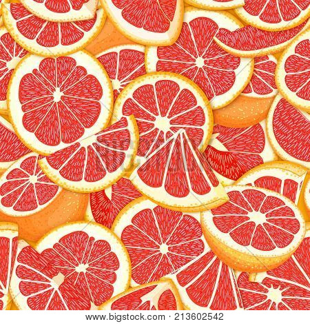 Ripe juicy tropical grapefruit background. Vector card illustration. Closely spaced fresh citrus red pomelo fruit piece of half, slice. Seamless pattern for packaging design healthy food, diet juce.