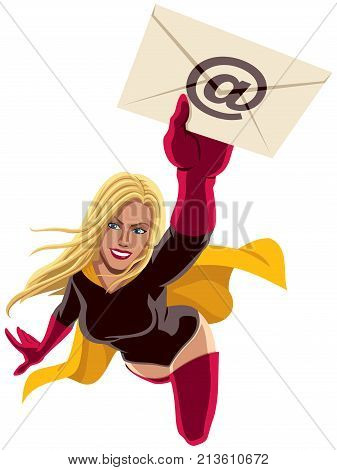 Illustration of flying superheroine carrying envelope representing e-mail.