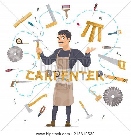Carpentry round concept with woodworker professional instruments tools and equipment isolated vector illustration
