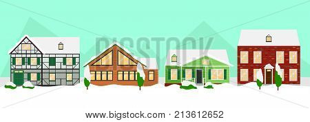 Flat colorful winter houses landscape template with snowy trees and suburban buildings of different construction vector illustration