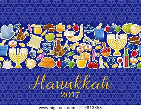 Jewish Holiday Hanukkah horizontal banner. Traditional symbols of holiday light and candles cards on blue Jewish star template . Cartoon style vector illustration