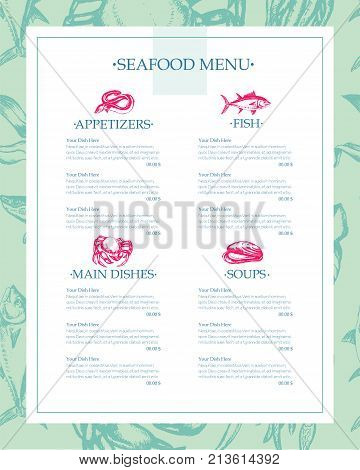 Delicious Seafood - color vector hand drawn vintage template menu with copy space. Realistic alga, seaweed, squid, crab, shrimp, mussel, giant scallop, oyster, tuna, fish, grog, eel, sprat, fish.
