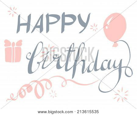 Happy Birthday typographic vector design for greeting cards Birthday card invitation card. Isolated birthday text lettering composition. Vector Illustration eps.8