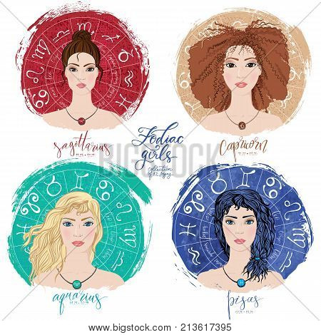 Set of four zodiacs- Sagittarius, Capricorn, Aquarius and Pisces in images of beauty girls. Vector illustration for column Horoscope includes modern hand drawn lettering and dates