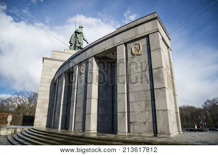 BERLIN - APRIL 2: Soviet War Memorial in Berlin Tiergarten Germany. Monument Of Soviet Soldiers on April 2 2015 in Berlin Germany