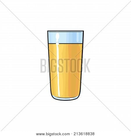 Freshly squeezed orange juice in tall glass, side view sketch style vector illustration isolated on white background. Hand drawn glass of fresh orange juice, sketch style illustration