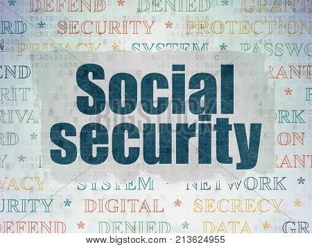 Protection concept: Painted blue text Social Security on Digital Data Paper background with   Tag Cloud