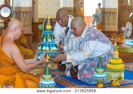 SAMUTPRAKA THAILAND - MAY 31: The ordination ceremony on May 31 2015 at phra samut chedi temple in Samutprakan Thailand This is Thai Culture for Every Man Becoming a New Monk or Priest.