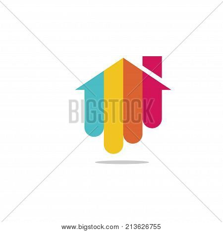 Colorful house logo. Colored house logo. House logo design. House design element.
