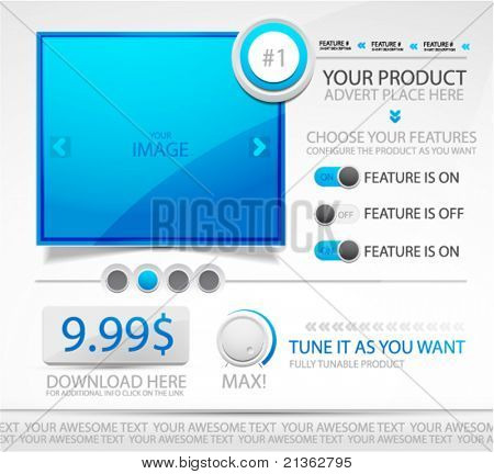 Promotional vector web site template. Web box and features