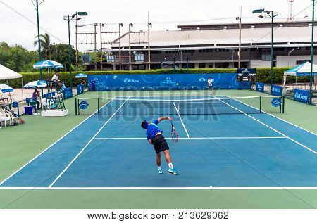 BANGKOK June 24 : Pruchaya Isarow of Thailand action in Chang ITF Pro Circuit International Tennis Federation 2015 at Rama Gardens Hotel on June 24 2015 in Bangkok Thailand.