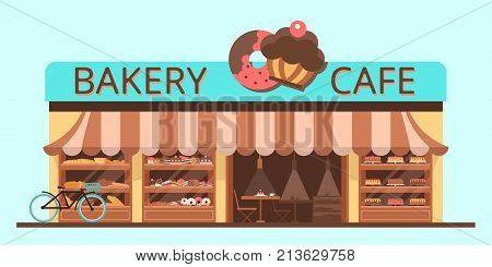 Bakery facade. Showcase with sweets. Cakes and bread. Flat vector esp 10.
