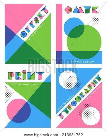 A set of retro overprint multilayered anaglyph effect designs for print and typography. Offset print effect, cubist minimalist shapes.