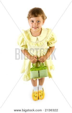 Little Smiling Girl With Green Bag.