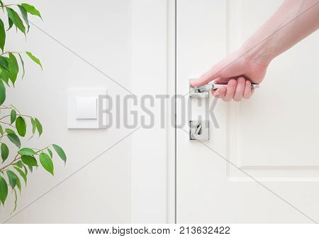 Male hand holding modern door handle. Close-up elements of the interior of the apartment. White door and lock with key. The light switch on the wall and green plant leaves