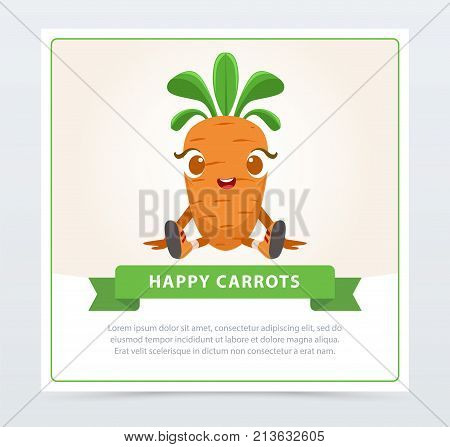 Cute humanized carrot vegetable character, happy carrot banner flat vector element for website or mobile app with sample text